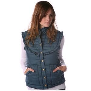 FREE PEOPLE Blue Puffer Ruffle Vest Size Large